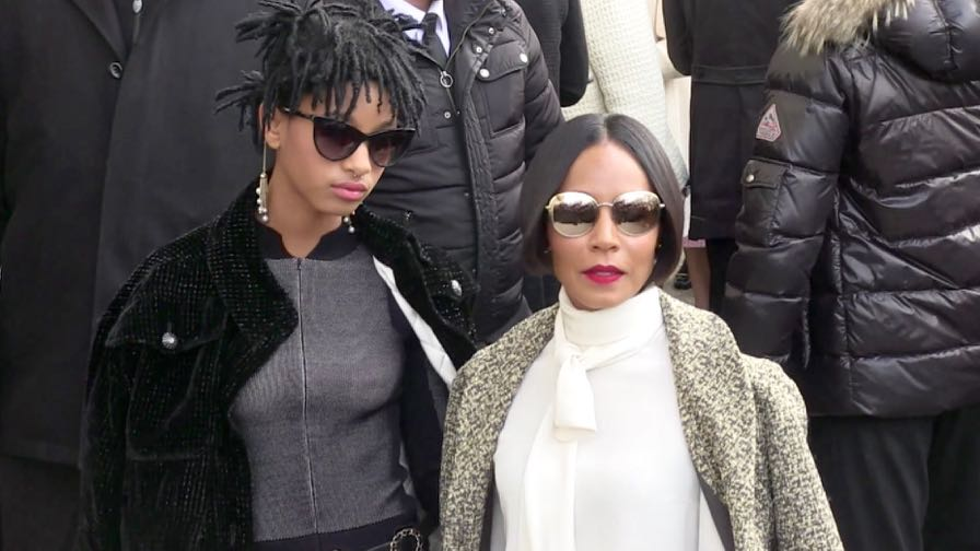 Jada Pinkett Smith and her daughter Willow at the Chanel Fashion Show in Paris