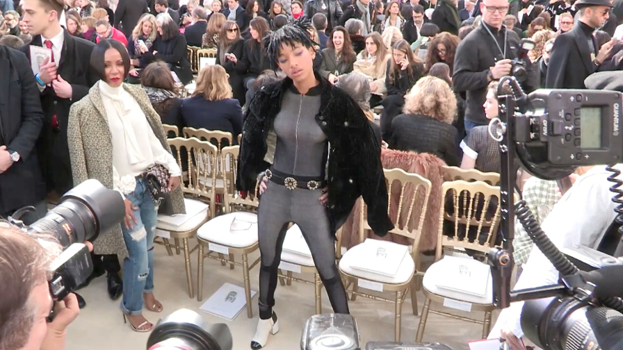 DO NOT CREDIT - Willow Smith and Jada Pinkett Smith Front row of Chanel Fashion Show in Paris
