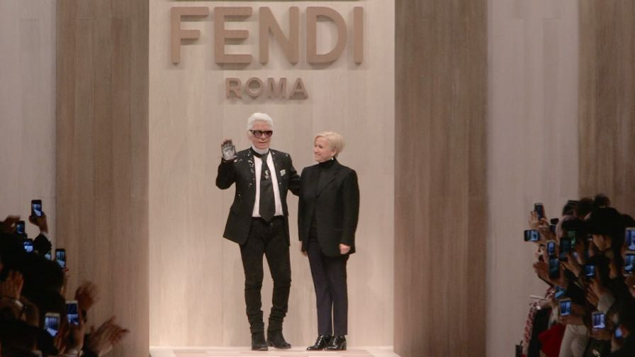 Designer Karl Lagerfeld, Stella Maxwell, Romee Strijd and more on the runway for the Fendi show