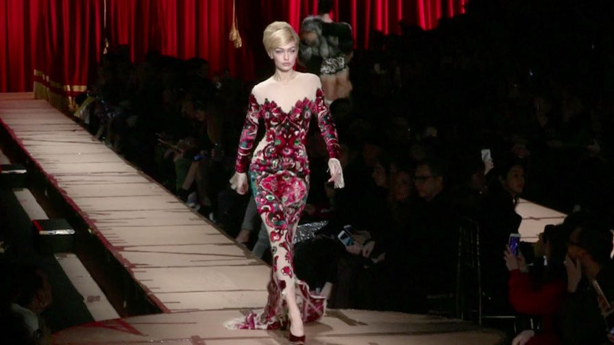 Designer Jeremy Scott, Gigi Hadid, Elsa Hosk, Romee Strijd and more on the runway for the Moschino f