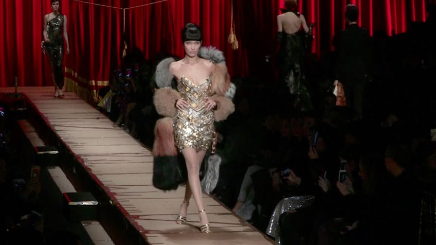 Bella Hadid, Gigi Hadid and more on the runway for the Moschino fashion show