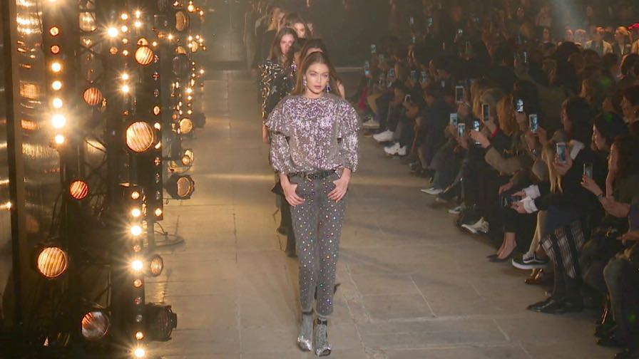 Designer Isabel Marant and Models on the runway for the Isabel Marant fashion show in Paris.
