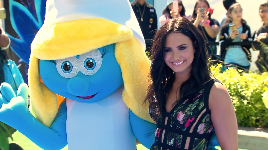 FRANCE ONLY - Demi Lovato, Smurfette, Meghan Trainor and more at Smurfs - The Lost Village Premiere