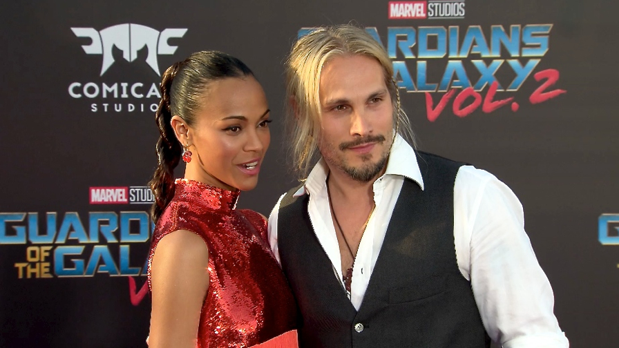 FRANCE ONLY - Zoe Saldana and Marco Perego at Guardians of the Galaxy Vol. 2 Premiere