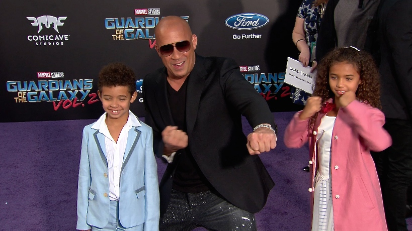 FRANCE ONLY - Vin Diesel and kids at Guardians of the Galaxy Vol. 2 Premiere
