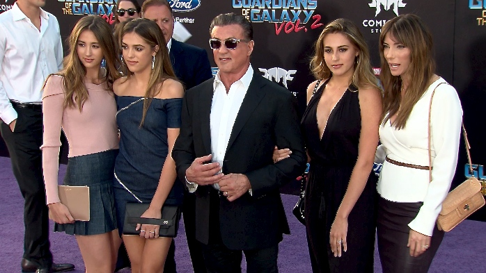 FRANCE ONLY - Sylvester Stallone and family at Guardians of the Galaxy Vol. 2 Premiere