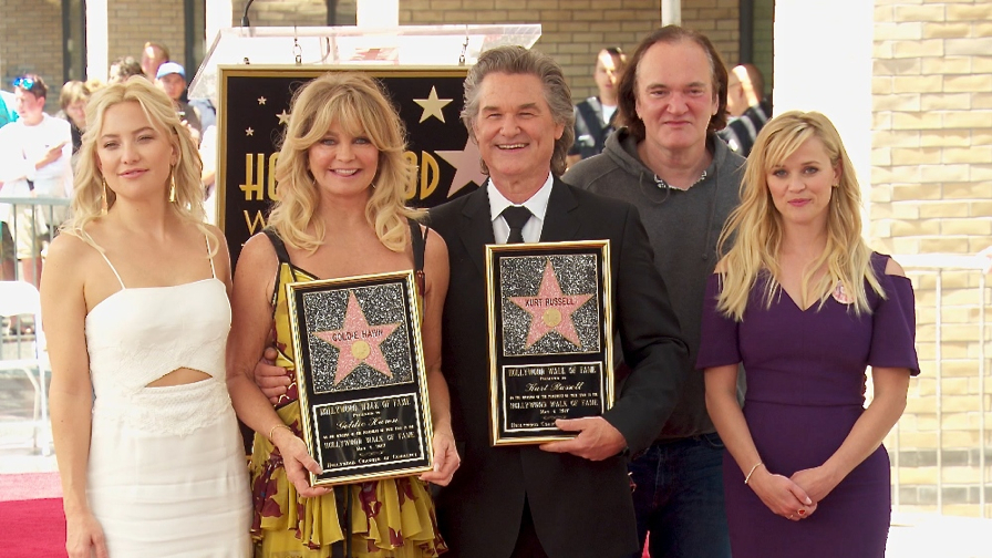 FRANCE ONLY - Kurt Russell and Goldie Hawn Star on the Hollywood Walk of Fame