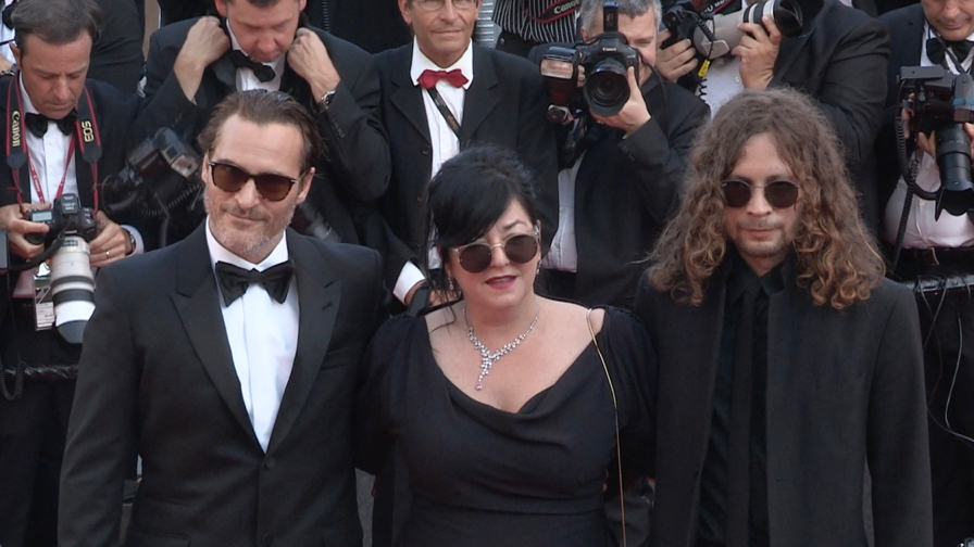 Joaquin Phoenix and director Lynne Ramsay on the red carpet in Cannes