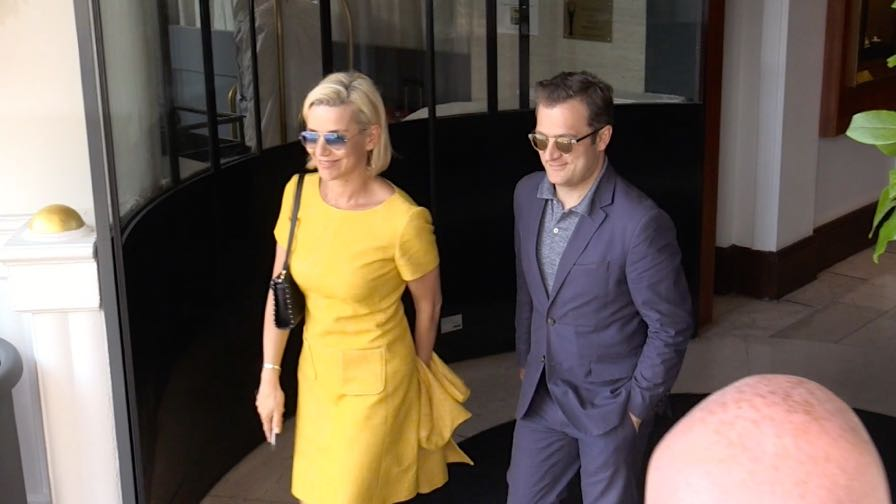 EXCLUSIVE : Laurence Ferrari and husband coming out of the Majestic hotel in Cannes