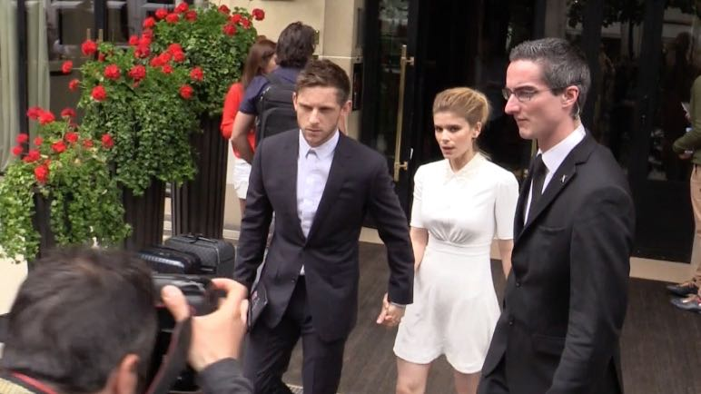 Kate Mara and Jamie Bell come out of the Plaza Athenee hotel in Paris