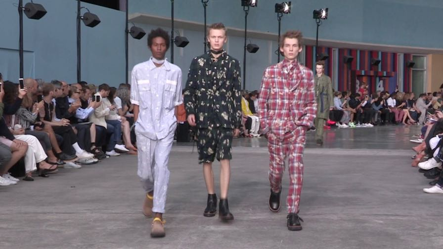 Models on the runway for the Sacai Menswear show