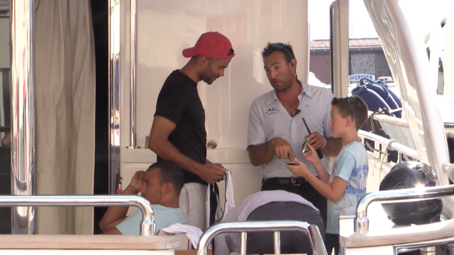 EXCLUSIVE - Tony Parker greets fans on his yacht in Saint Tropez