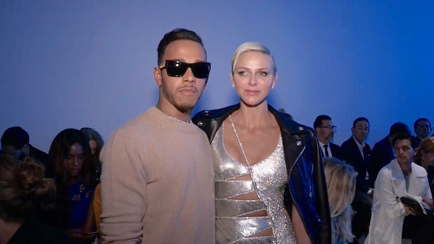 Lewis Hamilton, Charlene Wittstock, Kris Jenner and more front row for the Versace show