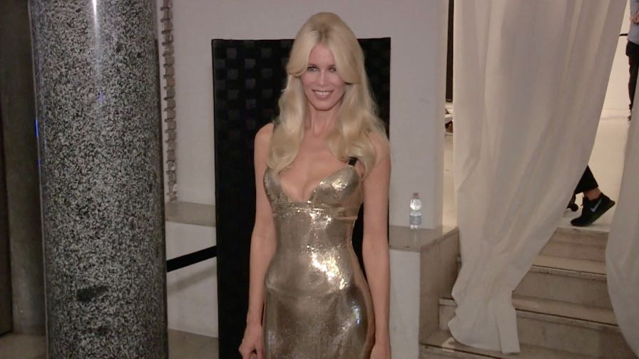 Claudia Schiffer after the runway for the Versace Fashion Show in Milan