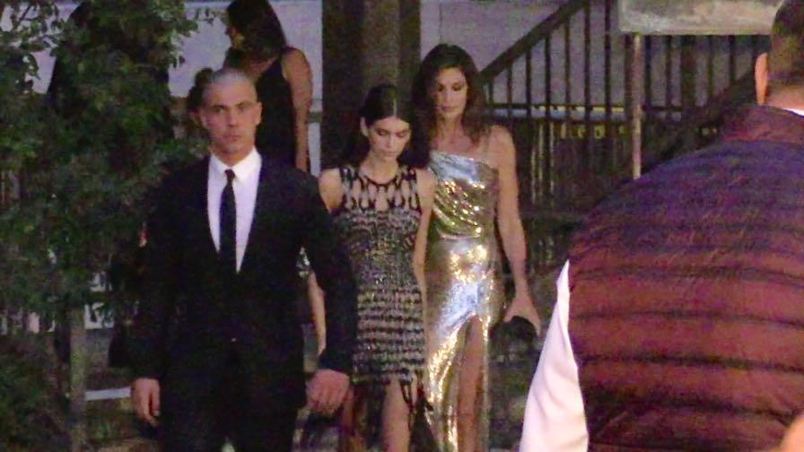Cindy Crawford and her daughter Kaia Gerber after the runway for the Versace Fashion Show