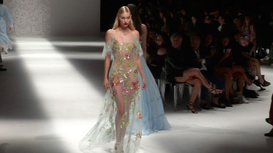Elsa Hosk, Martha Hunt and their fellow models on the runway for the Blumarine Fashion Show