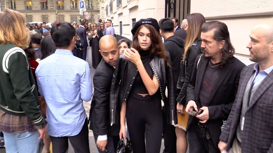 Kaia Gerber coming out of the Chloe fashion show in Paris