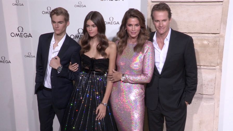 Cindy Crawford, Kaia Gerber, her brother Presley Gerber and more attending the Omega Party in Paris