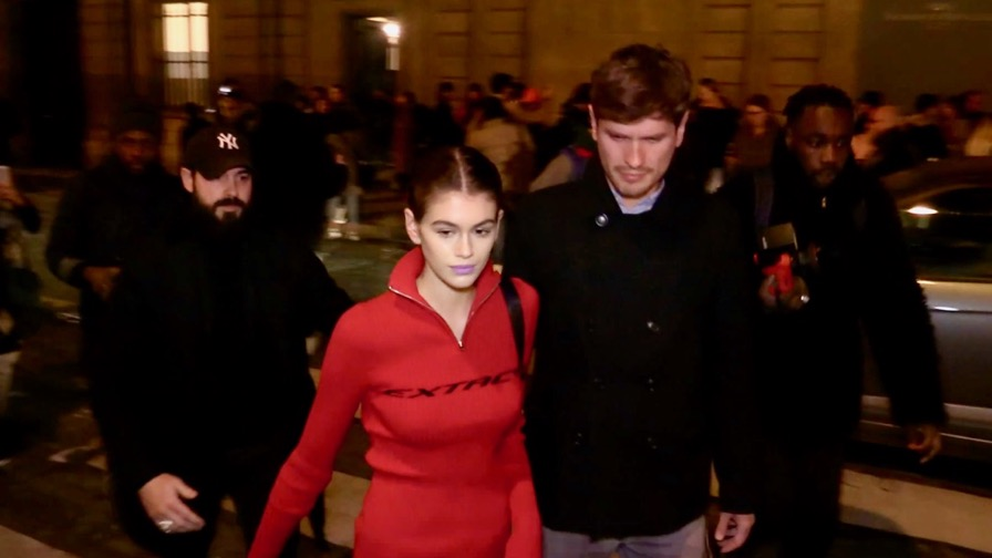 Kaia Gerber coming out of the 2018 Valentino haute couture show in Paris