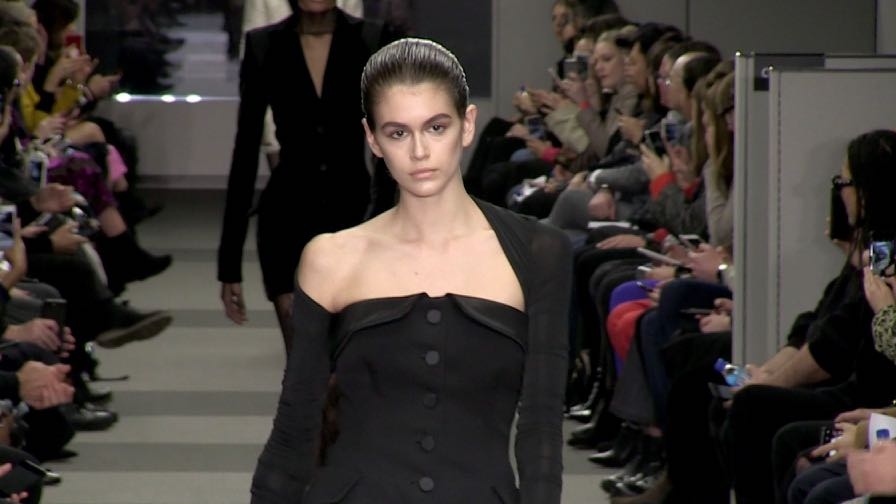 Kaia Gerber and her fellow models on the runway for the Alexander Wang Show