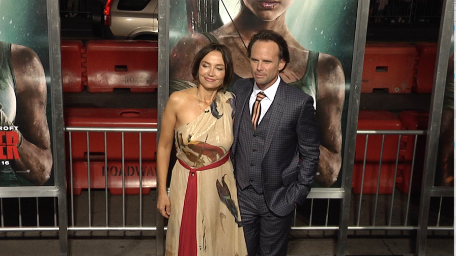 Walton Goggins and Nadia Conners at Tomb Raider Premiere in Los Angeles