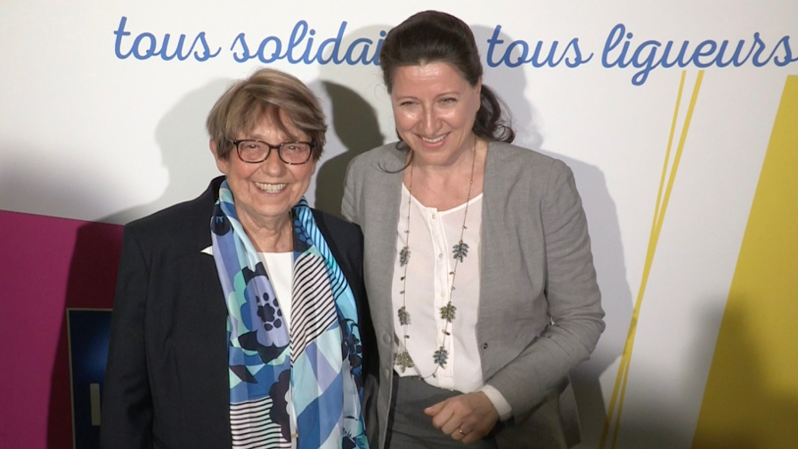 Michel Edouard Leclerc and Agnes Buzyn at the 100th anniversary  of La Ligue Contre le Cancer