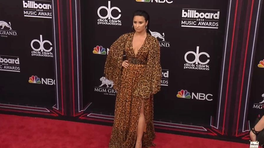Demi Lovato on the red carpet for the 2018 Billboard Music Awards