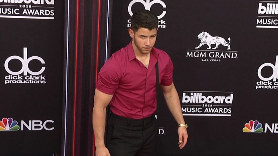 Nick Jonas on the red carpet for the 2018 Billboard Music Awards