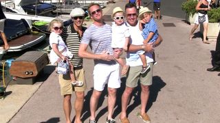 Neil Patrick Harris, David Furnish and family for ice cream in Saint Tropez