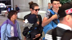 FRANCE ONLY - NO YouTube - Princess Charlotte Casiraghi Arrives At LAX With Baby Raphael