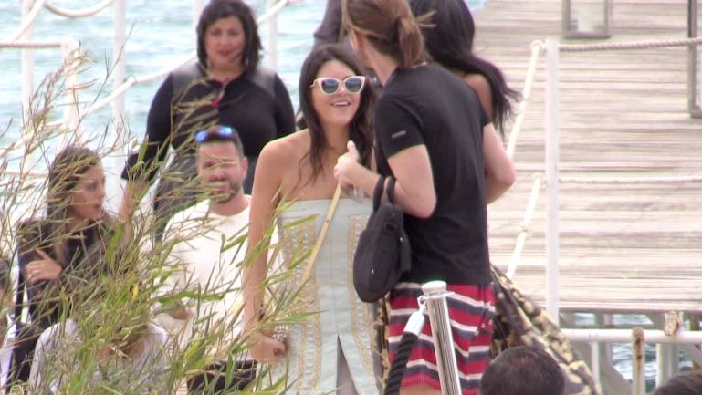 EXCLUSIVE - Kendall Jenner, her short short dress and Kelly Brook attend the Fendi Lunch in Cannes