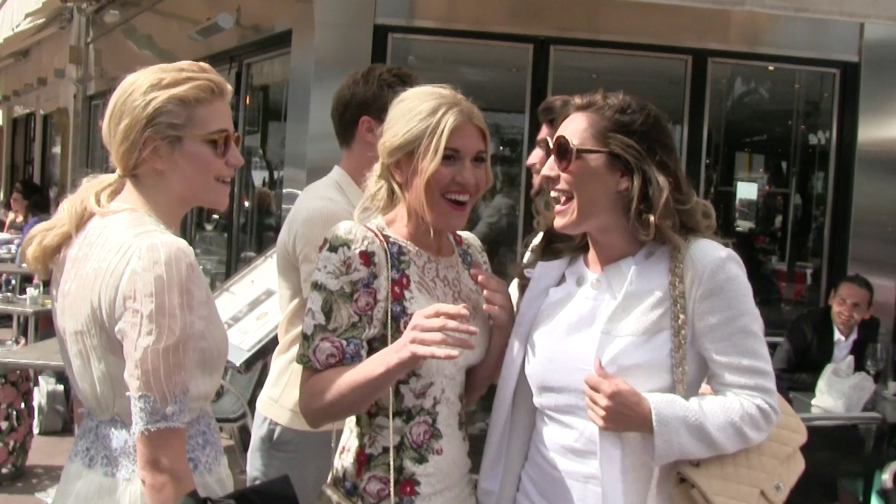 EXCLUSIVE - Pixie Lott bumping into Kelly Brook on the famous Croisette in Cannes